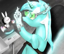 Size: 967x827   Tagged: safe, artist:cosmicradish, angel bunny, lyra heartstrings, cyborg, artificial hands, hand, she actually did ask for this