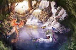 Size: 1200x800 | Tagged: safe, artist:ziom05, philomena, princess celestia, butterfly, phoenix, bathing, beautiful, detailed, outdoors, scenery, technically advanced, tree, water, water spring, waterfall, wet mane