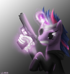 Size: 2965x3131 | Tagged: safe, artist:cosmicradish, twilight sparkle, pony, unicorn, future twilight, gradient background, gritted teeth, gun, hand, high res, magic, magic hands, solo
