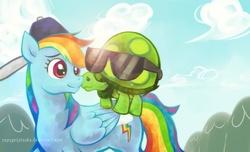 Size: 2000x1214 | Tagged: safe, artist:copygeijutsuka, rainbow dash, tank, backwards ballcap, baseball cap, cap, hat, lens flare, sunglasses
