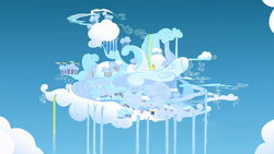 Size: 1920x1080 | Tagged: safe, screencap, sonic rainboom (episode), city, cloud, cloudiseum, cloudsdale, no pony, rainbow waterfall, sky, wallpaper, waterfall
