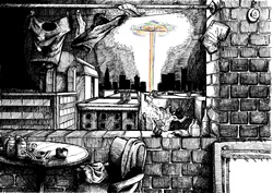 Size: 4960x3508 | Tagged: safe, artist:smellslikebeer, artist:sonicrainboom93, rainbow dash, abandoned, black and white, bygone civilization, crosshatch, earth, female, grayscale, ink, monochrome, neo noir, partial color, solo, sonic rainboom, traditional art