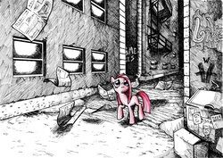Size: 4913x3472 | Tagged: safe, artist:smellslikebeer, pinkie pie, earth pony, human, pony, abandoned, black and white, bygone civilization, crosshatch, dumpster, female, frown, graffiti, grayscale, ink, looking up, monochrome, neo noir, newspaper, partial color, pinkamena diane pie, raised hoof, sad, solo, traditional art, walking