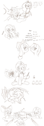 Size: 844x2387 | Tagged: apple bloom, appledash, applejack, artist:joey darkmeat, blushing, cutie mark crusaders, drool, duckface, female, fluttershy, gun, implied scootabuse, kissing, lesbian, monochrome, princess celestia, princess luna, rainbow dash, safe, scootaloo, shipping, sleeping, sweetie belle, traditional art, trixie, zzz