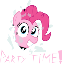 Size: 4049x4188 | Tagged: safe, artist:grinning-alex, party time, pinkie pie, absurd resolution, fourth wall, fourth wall destruction, grin, happy, party, solo