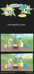 Size: 1024x2197 | Tagged: artist:parallaxmlp, browser ponies, comic, derpy hooves, dialogue, female, internet browser, internet explorer, mare, oc, oc:internet explorer, pegasus, ponified, pony, safe