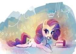 Size: 1280x906 | Tagged: safe, artist:purplekecleon, rarity, pony, unicorn, cake, eating, female, mare, solo