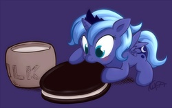 Size: 1009x632 | Tagged: safe, artist:kuraton, princess luna, alicorn, pony, blushing, cookie, cute, eating, female, filly, food, hnnng, lunabetes, micro, milk, nom, oreo, prone, purple background, signature, simple background, smiling, solo, spread wings, weapons-grade cute, woona, younger
