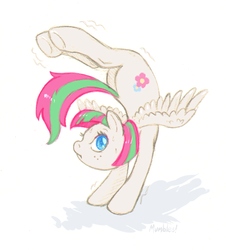 Size: 652x720 | Tagged: active stretch, artist:mumbles, backbend, blossomforth, contortion, contortionist, flexible, pegasus, pony, safe, solo
