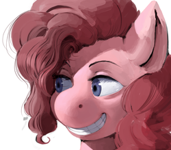 Size: 929x812 | Tagged: artist:kevinsano, hippo snout, pinkie pie, safe, simple background, smiling, solo, teeth