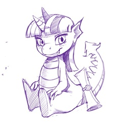 Size: 487x487 | Tagged: artist:kevinsano, dragon, dragonified, lineart, monochrome, safe, simple background, solo, species swap, twilidragon, twilight sparkle, white background