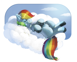 Size: 831x664 | Tagged: safe, artist:kevinsano, rainbow dash, cloud, cloudy, eyes closed, hippo snout, on back, solo