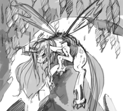 Size: 996x901 | Tagged: safe, artist:kevinsano, queen chrysalis, changeling, changeling queen, creepy, female, grayscale, monochrome