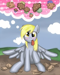 Size: 800x1000 | Tagged: safe, artist:nefertie, derpy hooves, pegasus, pony, female, mare, muffin, solo, tongue out