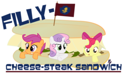 Size: 900x542 | Tagged: safe, artist:urpleb3atin, apple bloom, scootaloo, sweetie belle, cutie mark crusaders, pun, sandwich, trio