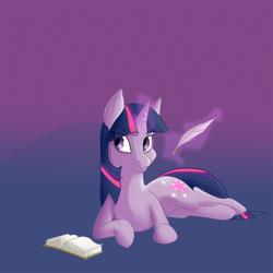 Size: 500x500 | Tagged: safe, artist:copycatastrophe, twilight sparkle, pony, unicorn, book, female, glowing horn, grin, horn, magic, mare, quill, smiling, solo, telekinesis, unicorn twilight