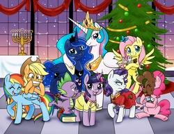 Size: 3300x2550 | Tagged: safe, artist:chibi-jen-hen, applejack, fluttershy, pinkie pie, princess celestia, princess luna, rainbow dash, rarity, spike, twilight sparkle, alicorn, butterfly, dragon, earth pony, pegasus, pony, rabbit, unicorn, animal, birthday dress, book, chocolate, christmas, christmas tree, clothes, dress, hanukkah, high res, holiday, mane seven, mane six, menorah, mistletoe, rarity is not amused, tree, unamused