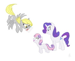Size: 900x729 | Tagged: safe, artist:carnifex, derpy hooves, rarity, sweetie belle, pegasus, pony, female, letter, mare