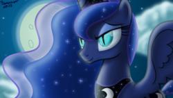 Size: 1200x675 | Tagged: safe, artist:bonaxor, nightmare moon, princess luna, bedroom eyes, bust, dragon eyes, moon, nightmare luna, slit eyes, smiling, solo, spread wings