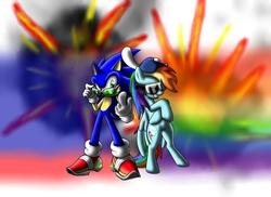 Size: 2338x1700 | Tagged: safe, artist:sweecrue, rainbow dash, backwards ballcap, crossover, hat, radicalness, sonic the hedgehog, sonic the hedgehog (series)