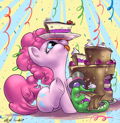 Size: 1000x1024 | Tagged: safe, artist:atryl, gummy, pinkie pie, :p, cake, confetti, cute, diapinkes, eating, food, hat, pet, silly, sitting, solo, tongue out, top hat