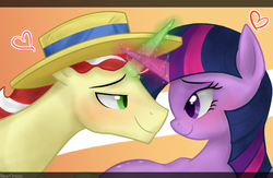 Size: 900x585 | Tagged: safe, artist:mn27, flim, twilight sparkle, pony, unicorn, eye contact, female, hat, heart, horn, horns are touching, looking at each other, magic, male, mare, shipping, smiling, stallion, straight, twiflim, unicorn twilight