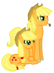 Size: 1072x1440 | Tagged: applejack, applejack (male), applejacks (shipping), artist:jaquelindreamz, female, male, prone, rule 63, safe, selfcest, self ponidox, shipping, simple background, straight