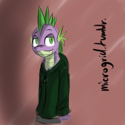 Size: 900x900 | Tagged: safe, artist:microgrid, spike, anthro, clothes, hoodie, older
