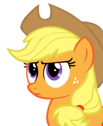 Size: 434x528 | Tagged: safe, applejack, eyes, simple background, solo