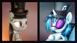 Size: 1441x800 | Tagged: safe, artist:subjectnumber2394, dj pon-3, vinyl scratch, earth pony, pony, unicorn, duo, female, glasses, hat, top hat