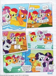Size: 740x995 | Tagged: safe, apple bloom, applejack, rarity, scootaloo, sweetie belle, twilight sparkle, comic:apple bloom's big adventure, german comic, bath, bubble bath, comic, cute, cutie mark crusaders, don't ask me why twilight's even in this comic, german my little pony comic, messy, mud, my little pony comic, official content, translation, twilight is a lion