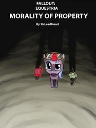 Size: 1299x1733 | Tagged: safe, oc, oc only, oc:coin slot, fallout equestria, fallout equestria: morality of property, goggles, looking at you, looking up, nightstalker, perspective, pet, title