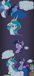 Size: 1136x2490 | Tagged: safe, artist:joey darkmeat, princess celestia, spike, twilight sparkle, colored, comic, cute, cutelestia