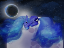 Size: 1000x750 | Tagged: safe, artist:abductionfromabove, princess luna, banishment, eclipse, eyes closed, moon, solo, tangible heavenly object