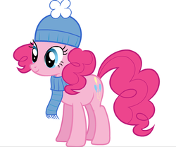Size: 845x704 | Tagged: safe, pinkie pie, clothes, hat, official, scarf, solo, vector, winter