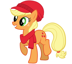 Size: 789x700 | Tagged: safe, applejack, clothes, hat, official, raised hoof, scarf, simple background, solo, vector, winter