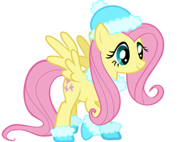 Size: 875x705 | Tagged: safe, fluttershy, boots, clothes, hat, official, shoes, solo, vector, winter