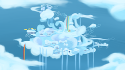 Size: 900x506 | Tagged: artist:speccysy, background, city, cloud, cloudsdale, rainbow waterfall, safe, scenery, sky