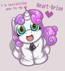 Size: 1008x1095 | Tagged: safe, artist:melle-d, sweetie belle, pony, robot, robot pony, unicorn, friendship is witchcraft, cute, diasweetes, female, filly, foal, hooves, horn, looking at you, open mouth, simple background, sitting, solo, sweetie bot, text