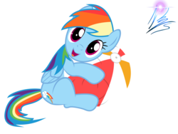 Size: 8000x6000 | Tagged: dead source, safe, artist:nightmaremoons, rainbow dash, pegasus, pony, absurd resolution, ball, beach ball, cute, dashabetes, looking at you, simple background, solo, transparent background, vector