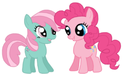 Size: 462x281   Tagged: safe, artist:teaganlouise, minty, pinkie pie, female, filly, foal, g3, g3 to g4, generation leap, lesbian, mintypie, shipping