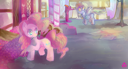 Size: 1100x600   Tagged: safe, artist:nyanamo, derpy hooves, pinkie pie, pegasus, pony, female, mare