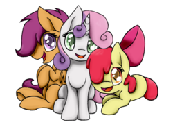 Size: 800x584   Tagged: safe, artist:soniskbooster, apple bloom, scootaloo, sweetie belle, cutie mark crusaders