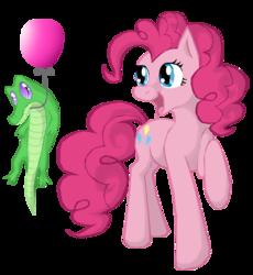 Size: 1376x1496   Tagged: safe, artist:kocurzyca, gummy, pinkie pie, balloon, gummy doesn't give a fuck