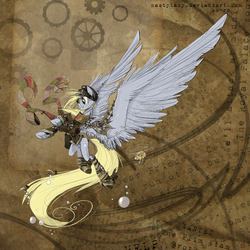 Size: 1531x1529 | Tagged: safe, artist:nastylady, derpy hooves, pegasus, pony, abstract background, clothes, epic derpy, female, goggles, large wings, mare, muffin, scarf, smiling, solo, steampunk, wings