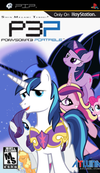 Size: 546x941   Tagged: safe, artist:nickyv917, applejack, derpy hooves, pinkie pie, princess cadance, rarity, shining armor, twilight sparkle, pegasus, pony, box art, crossover, female, game cover, mare, persona, persona 3, video game