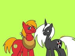 Size: 1280x947   Tagged: safe, artist:mofetafrombrooklyn, big macintosh, oc, oc:high cross, earth pony, pony, male, simple background, stallion