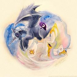 Size: 900x900   Tagged: safe, artist:slifertheskydragon, nightmare moon, princess celestia, alicorn, pony, female, mare, yin-yang