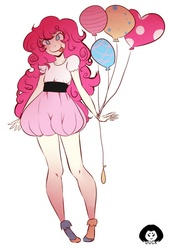 Size: 477x700 | Tagged: safe, artist:duckymonstah, pinkie pie, balloon, humanized, simple background, solo, tongue out, white background
