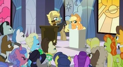 Size: 637x346 | Tagged: safe, edit, edited screencap, screencap, applejack, bruce mane, caesar, caramel, count caesar, dainty dove, dane tee dove, eclair créme, fine line, golden gavel, herald, jangles, justah bill, lady justice, masquerade, maxie, north star, orion, royal ribbon, sealed scroll, shooting star (character), swift justice, tall order, vance van vendington, crab pony, earth pony, pony, unicorn, sweet and elite, auction, bidding, crabjack, crowd, female, gavel, male, mare, mouth hold, pure unfiltered evil, stallion, the rani